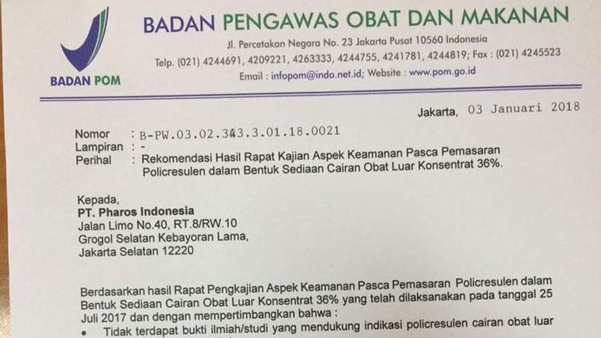 surat larangan penggunaan abothyl dari BPOMsurat larangan penggunaan abothyl dari BPOM