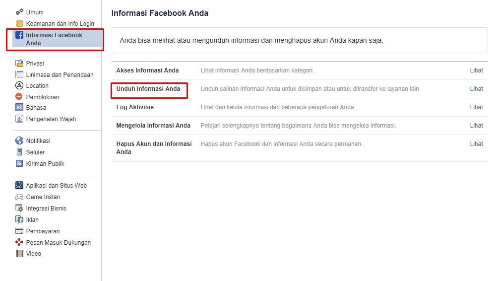 facebook unduh aktifitas